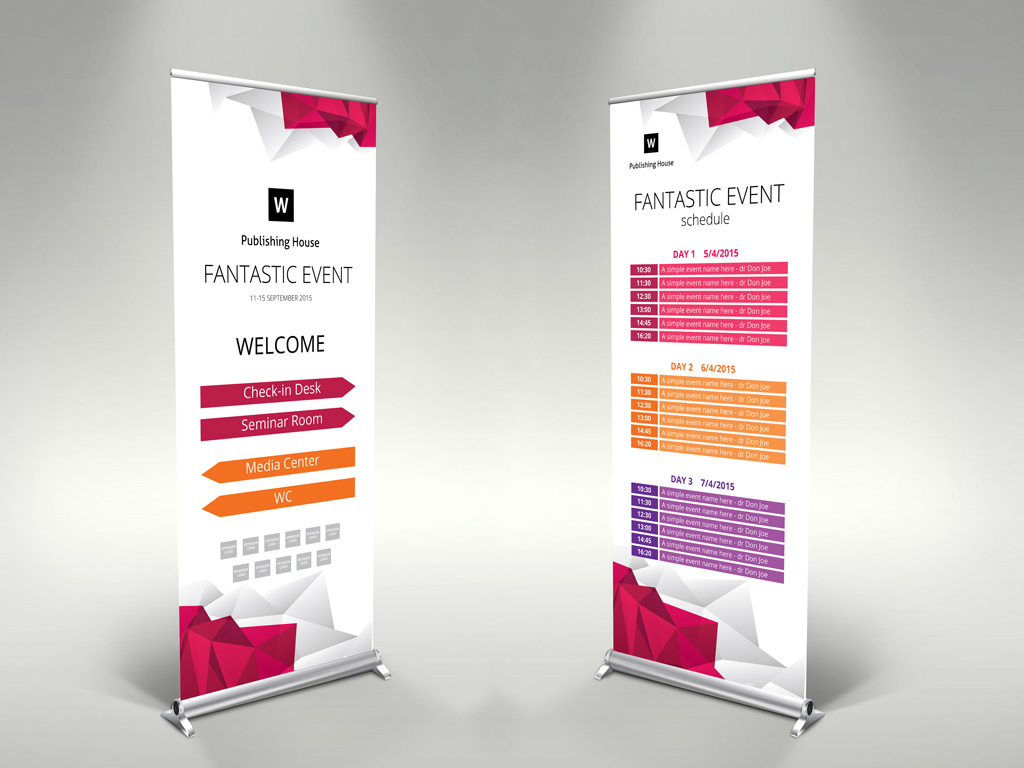 event roll up banner template themzy templates. Black Bedroom Furniture Sets. Home Design Ideas